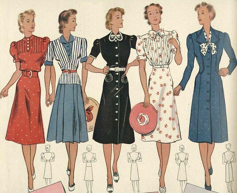 1940er Jahre Damenmode Erfindungen