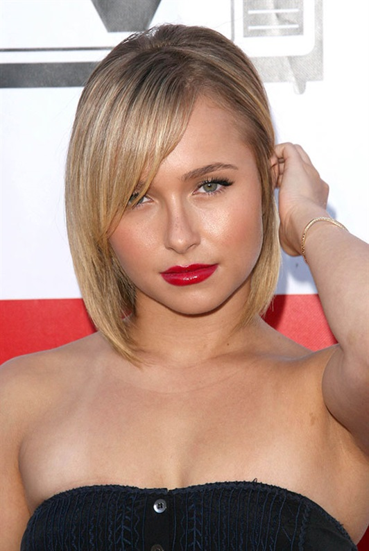 Bob Hairstyles for Round Faces Women  Remind me to take lessons from Hayden Panettiere on how to look sexy and pretty at the same time. Look at her with that bombshell hairstyle! While the straight short bob adds length to her face, her edgy side bangs add angles that contrast her roundness.
