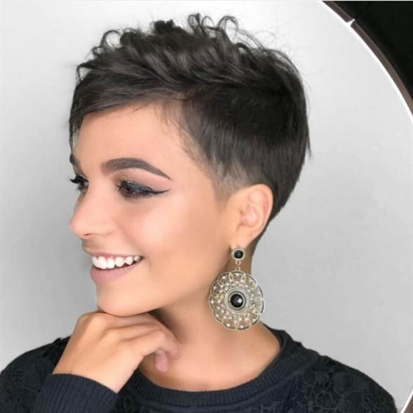 Curly Pixie Hairstyles New Ideas  If you don't want to give up your long hair entirely, the Short Pixie is perfect. You have many different great styling options with this haircut. The short pixie is great for women with an elongated or oval face.