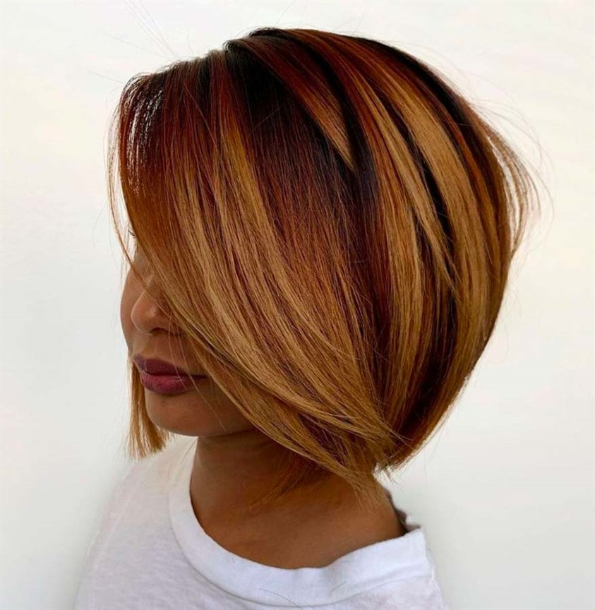 Elegant Hairstyles for Bob Cut Copper gives grit and sensuality, the full-bodied look gives a unique appeal to the wearer. It is perfect for layered hair.