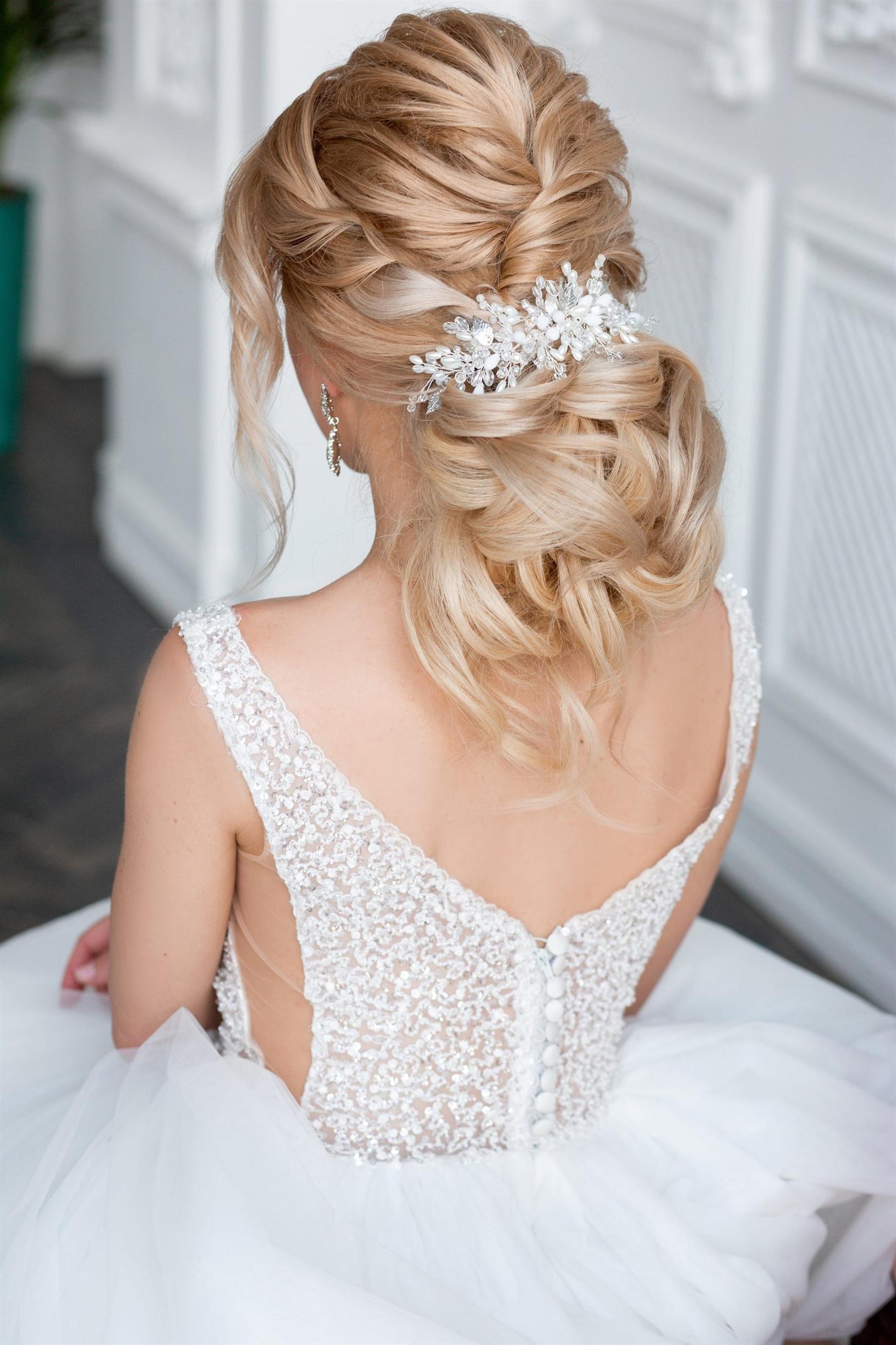 Moderne Brautfrisuren mit Blonde Haaare