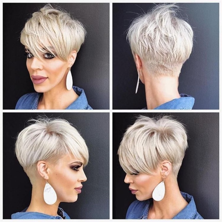 Pixie and Short Hairstyles For Thin Hair  The longer pixie cut is a great transition hairstyle from short to medium or from pixie to bob. The haircut is short enough to look sassy and turn heads. Nevertheless, the extra long front section of hair gives the hairstyle a feminine appeal and frames the face in an elegant way. The hair on the sides is longer too.