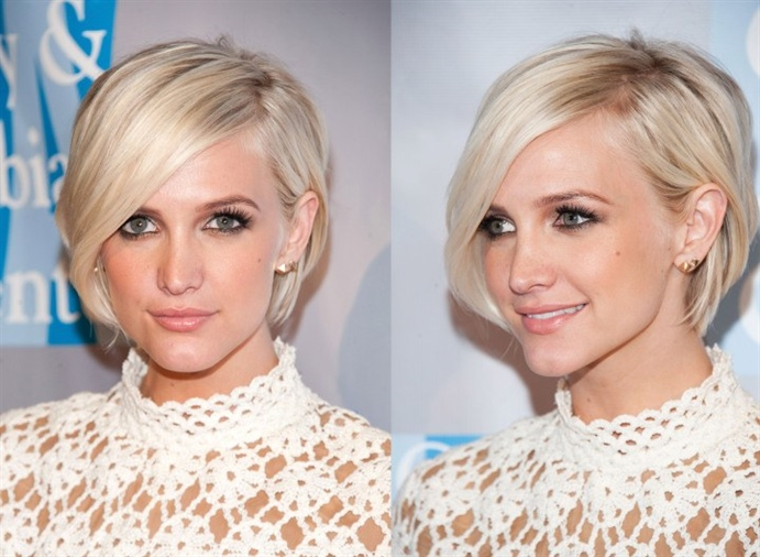 Short Hairstyles For Thin With Length Bob Side Bangs  Bring your hair forward with a fringe that closes your eyes. This model, which is compatible with blonde hair, fulfills your self-confidence. Try it to get a very sexy and stylish look.