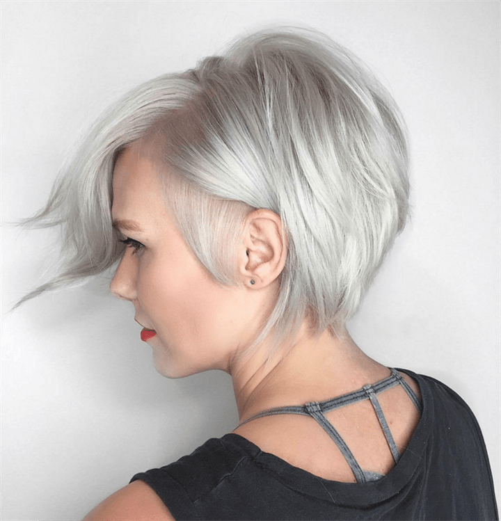 Short Hairstyles For Thin and Grey Hair  Fine hair is primarily a matter of genetics, but not just. Excessive blow-drying, straightening, coloring, or other aggressive cosmetic treatments can leave hair fragile, brittle, and thin. But turn them to your advantage by giving them great shapes as you can see.