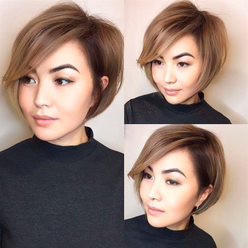 Side Wispy Cut for Bob Hairstyles Give yourself a natural style with this beautiful Bob with side tuft. It is perfect if you have a round face and appreciate natural beauty, without artifice. It is simple to manage, it does not require frequent retouching.