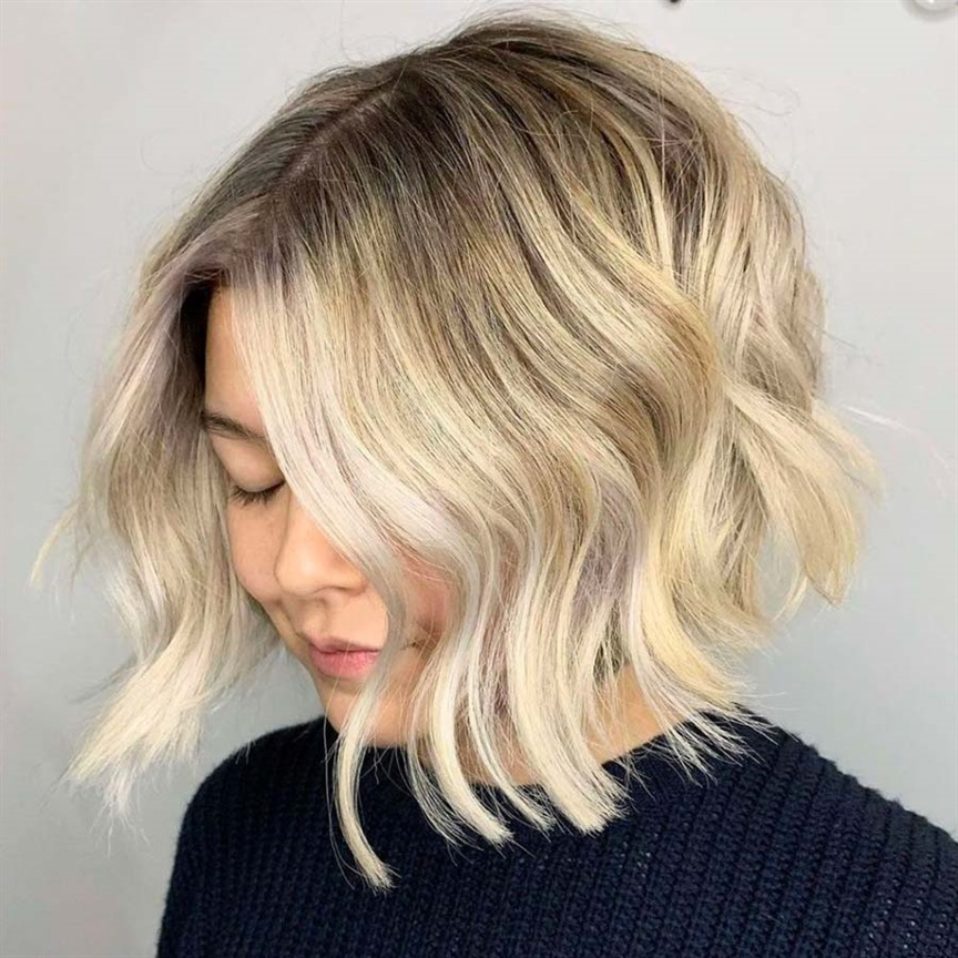 Wavy Bob Hairstyles for Women Chin-length blond hair never goes out of style; this look lends itself to a thousand different occasions. Enhance your face and eyes, especially if your face is oval in shape.