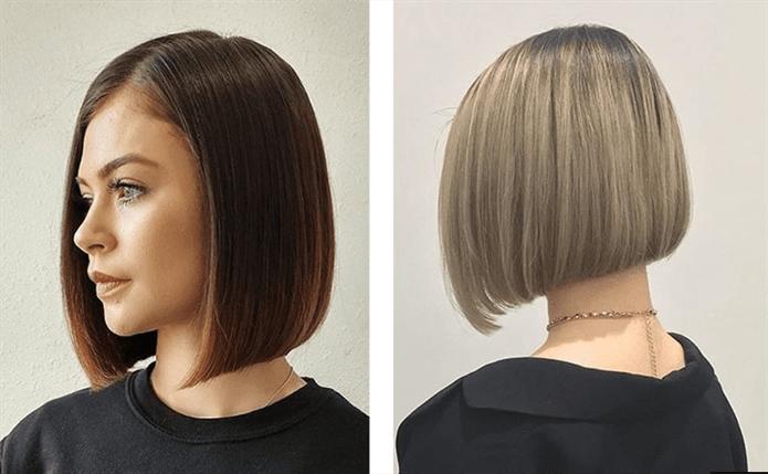 Kurze Haarschnitte fur Frauen der Winter  Es ist ein etwas längerer Bob-Haarschnitt. Das Haar ist fast schulterlang, sehr stilvoll und auffälliges Modell.