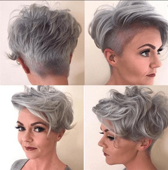 Kurze Haarschnitte mit Rasur Kurzhaarfrisuren  Die leicht lockige und rasierte Frisur ist sehr innovativ. Sie machten ein schönes Paar mit der grauen Farbe.