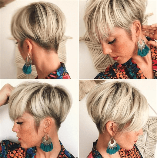 Kurzhaarfrisuren 2020 der Winter Ombre  Dieses Modell mit rasierten Seiten ist eine ideale Wahl für diejenigen, die ombre Haarfarbe machen.