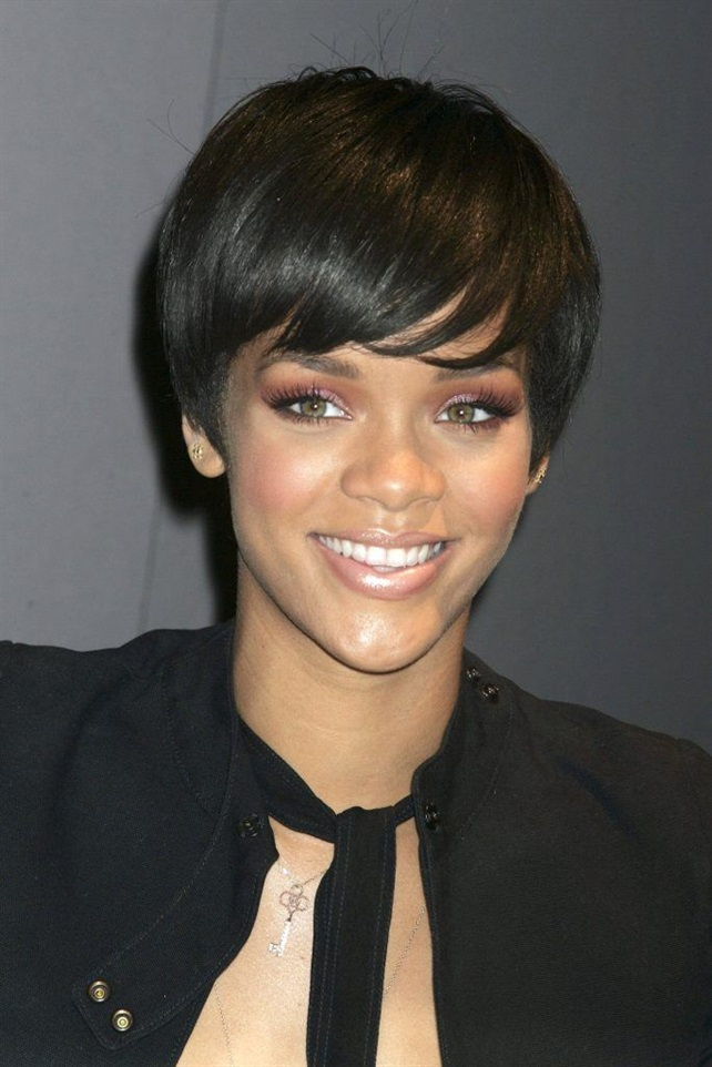 Short Bob Hairstyles with Bangs Rihanna  Hairdressers traditionally consider short hair that does not completely cover the ears. That is, a classic or elongated bob is rather medium length hair. And pixie is one of the best haircuts for short hair. (Rihanna)