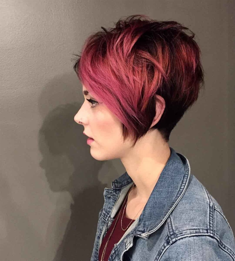 Short Hairstyles Back Side Shaved with Red Hair Color  If you are looking for difference, dye your hair. Red color will make you look charming and rebellious.