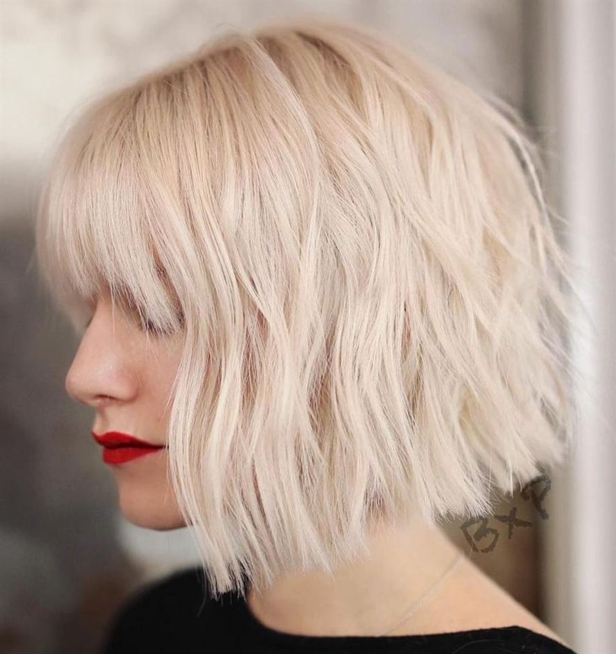 Bob Hairstyles Choppy Layers Choppy cuts are very trendy these days. Perfect idea for blond and platinum hair.