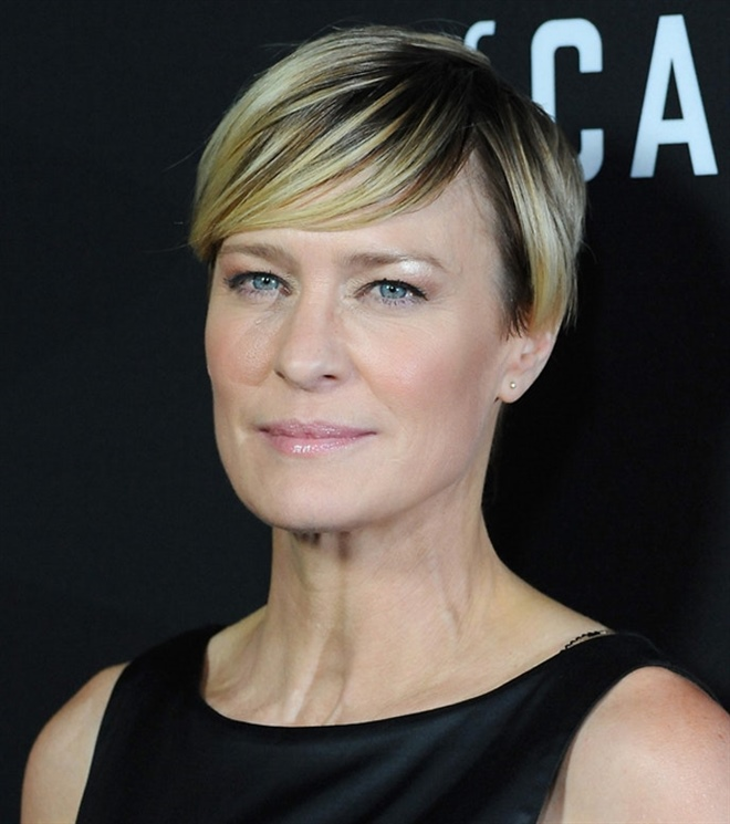 Short Hair Trends Over 50 Robin Wright  Turn down the amount of products You can advantageously reduce the amounts of your care products and use only a few drops of shampoo. Your short hair does not need as much shampoo as long hair. Your shampoo lasts much longer.