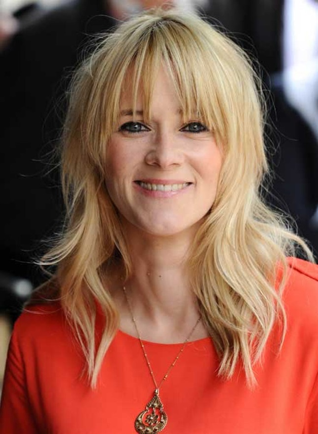 Blond Hairstyles with Bangs TV host Edith Bowman has natural waves in her blonde hair, and her bangs are high and cut obliquely, so it follows her facial contour.