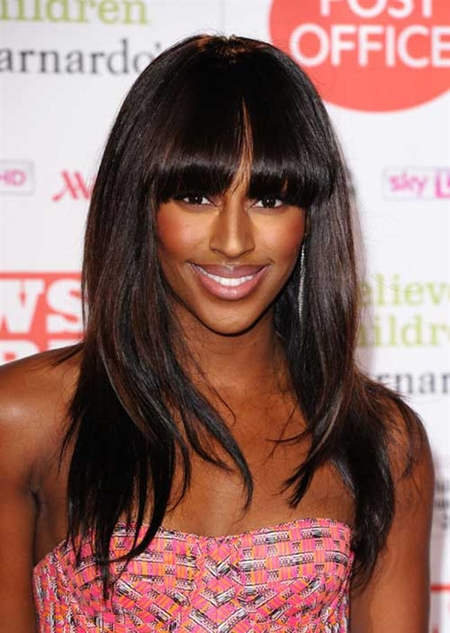 Hairstyles with Bangs Alexandra Burke Singer and model Alexandra Burke is seen here with a high and very heavy bangs. A really beautiful hairstyle that, however, requires a lot of hairdresser visits.