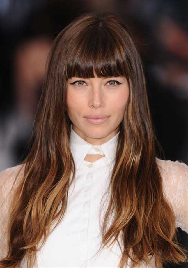 Long Hair Trends with Bangs jessica Biel Actress Jessica Biel is seen here with a long and well-groomed hair and a straight bangs that just exactly covers the eyebrows.