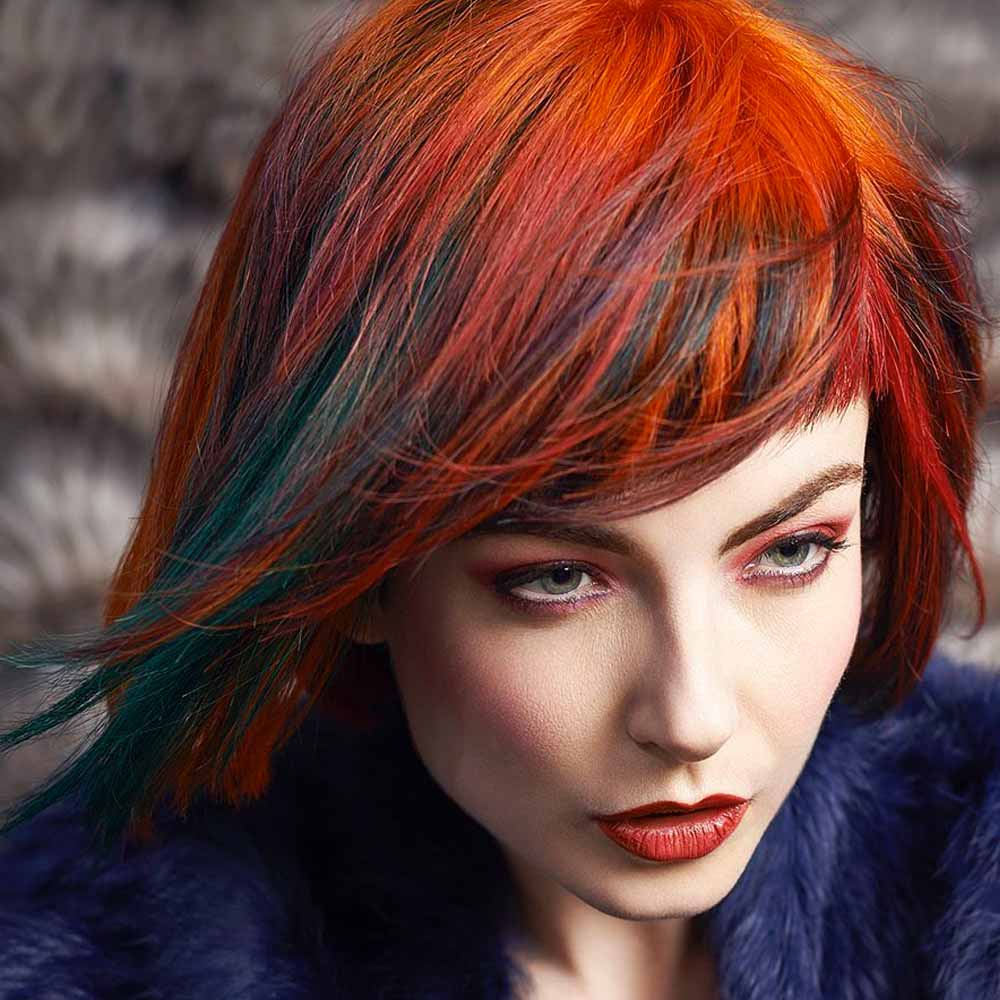 Short Hairstyles Colours Blue and Red